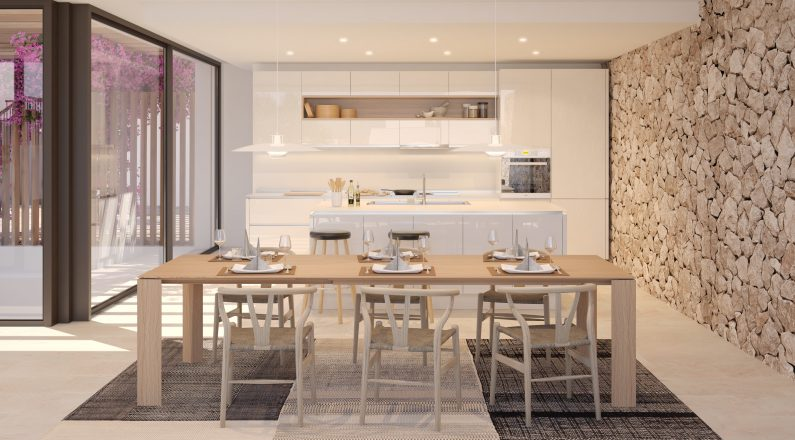 Cocina de una vivienda en Ibiza