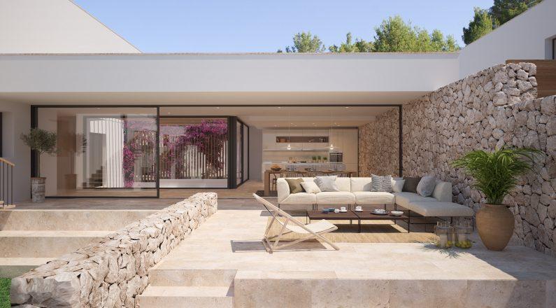 Construcción vivienda con terraza y jardín