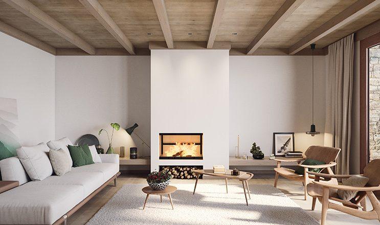 Sala de estar con fuego de leña