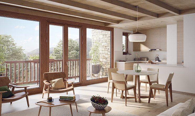 Comedor con cocina abierta y balcón