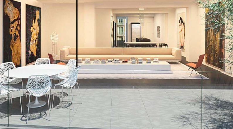 Terraz e interior comedor en vivienda en Barcelona