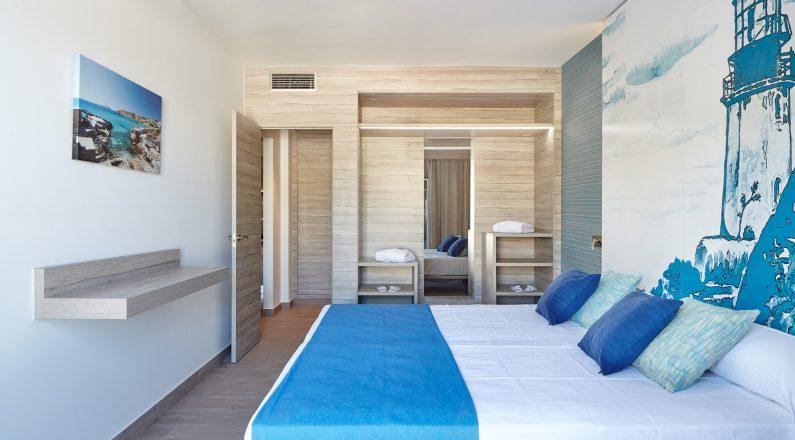 Habitación de matrimonio tonos azules